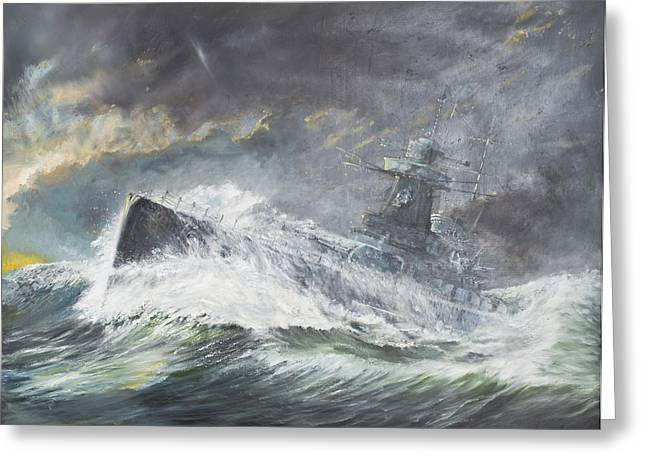German Ocean Greeting Cards - Graf Spee enters the Indian Ocean Greeting Card by Vincent Alexander Booth