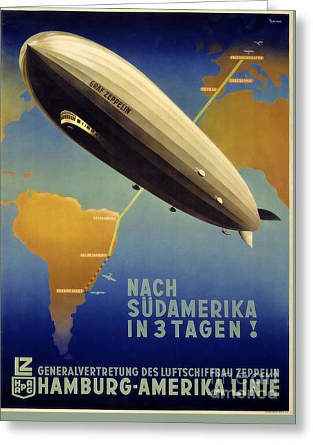 Europe Mixed Media Greeting Cards - Graf Zeppelin Vintage Poster Restored Greeting Card by Carsten Reisinger
