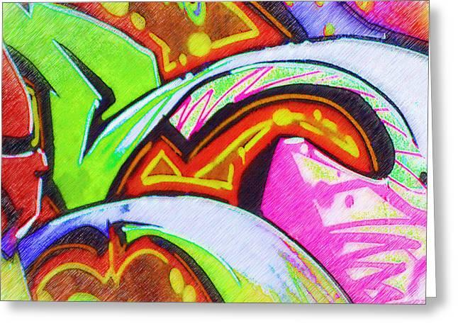 Splashy Greeting Cards - Graffiti Art 32 Greeting Card by Cindy Nunn