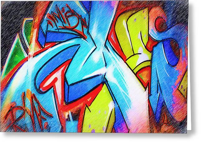 Intrigue Greeting Cards - Graffiti Art 51 Greeting Card by Cindy Nunn
