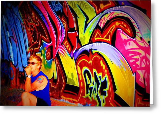 Intrigue Greeting Cards - Graffiti Art 61 Greeting Card by Cindy Nunn