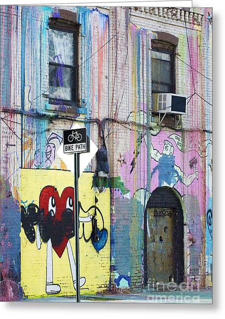 Shower Curtain Photographs Greeting Cards - Brooklyn Graffiti Walls and Bike Lane Greeting Card by ArtyZen Studios - ArtyZen Home