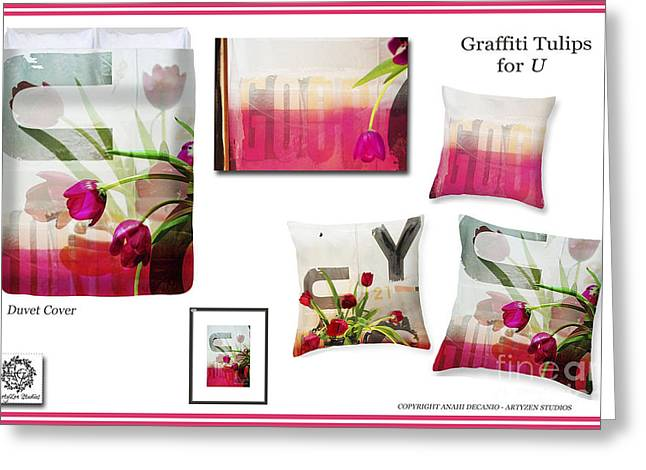 Houzz Greeting Cards - Graffiti Flowers for YOU - Inspiration Board Greeting Card by Anahi DeCanio