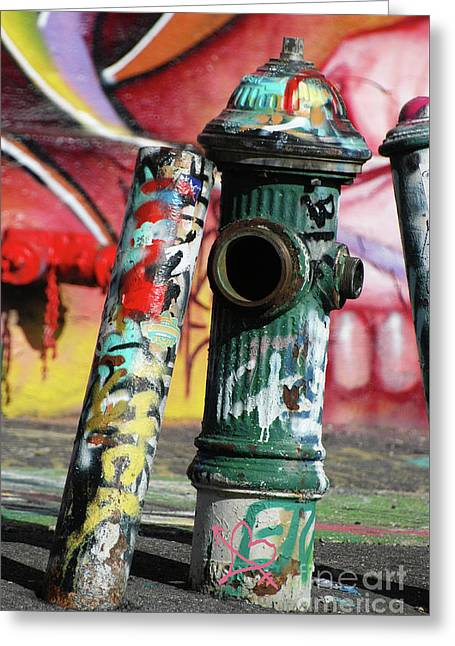Graffiti Art For The Home Greeting Cards - Graffiti Hydrant on Red Greeting Card by ArtyZen Studios - ArtyZen Home