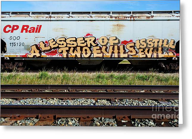 Graffiti Lesser Of Two Evils 1 Greeting Card by Bob Christopher