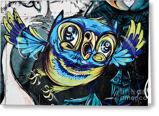Aerosol Paintings Greeting Cards - Graffiti Owl Greeting Card by Yurix Sardinelly