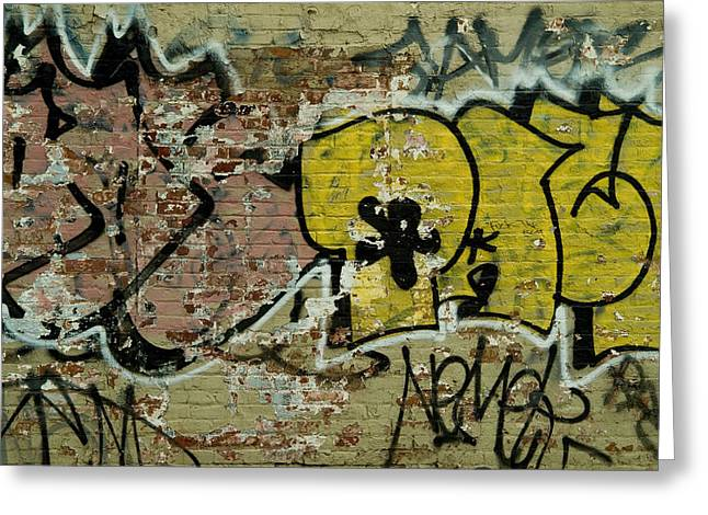 New York City Graffiti Greeting Cards - Graffiti Painted On A Brick Wall Greeting Card by Todd Gipstein