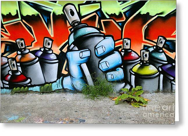 Graffiti Spray Cans Greeting Card by Richard Thomas