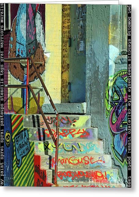 Graffiti Decor Greeting Cards - Graffiti Steps Wall Art Greeting Card by adSpice Studios