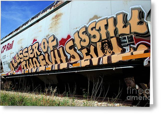 Grafitti Lesser Of Two Evils 2 Greeting Card by Bob Christopher