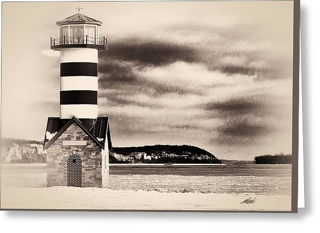 Shades Of Red Greeting Cards - Grafton Light House Greeting Card by Nancy Helmer