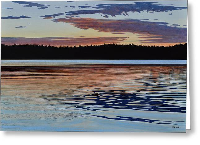 Canoe Paintings Greeting Cards - Graham Lake Greeting Card by Kenneth M Kirsch