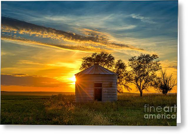 Witten Greeting Cards - Grain Bin at Sunset Greeting Card by Kendra Perry-Koski