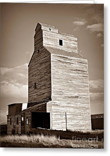 Grain Elevator 2 Sepia Greeting Card by Chalet Roome-Rigdon