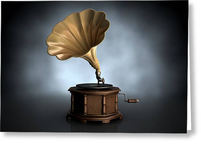 Record Greeting Cards - Gramophone Dark Background Greeting Card by Allan Swart