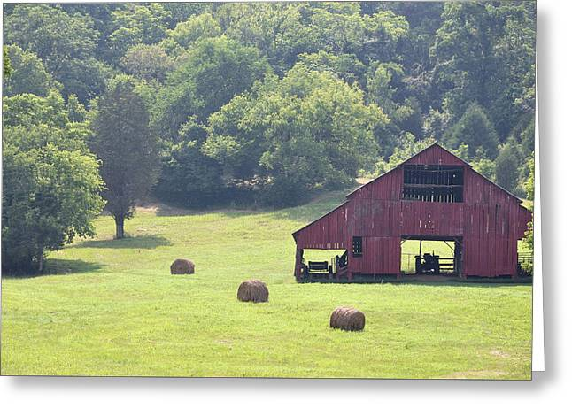 Tennessee Hay Bales Greeting Cards - Grampas Summer Barn Greeting Card by Jan Amiss Photography