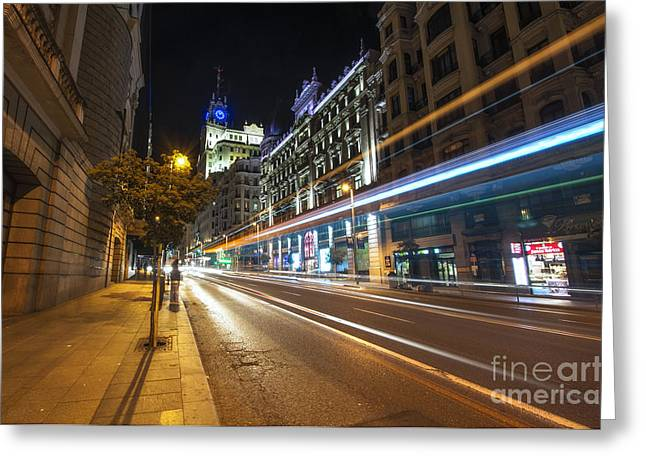 Popular Art Greeting Cards - Gran Via Light Trails 1.0 Greeting Card by Yhun Suarez