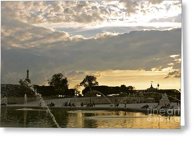Gloaming Greeting Cards - Grand Bassin at Sunset Greeting Card by Maureen J Haldeman