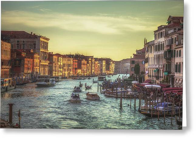 Italian Sunset Greeting Cards - Grand Canal as the sun is setting Greeting Card by Chris Fletcher