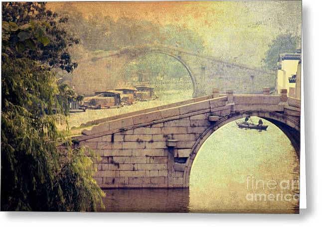 Old Beijing Greeting Cards - Grand Canal Bridge Suzhou Greeting Card by Heiko Koehrer-Wagner