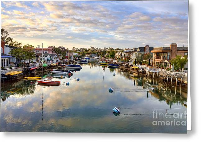 Balboa Island Greeting Cards - Grand Canal Greeting Card by Eddie Yerkish