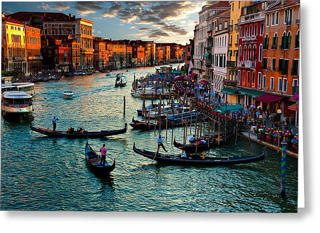 Rialto Bridge Greeting Cards - Grand Canal Sunset Greeting Card by Harry Spitz