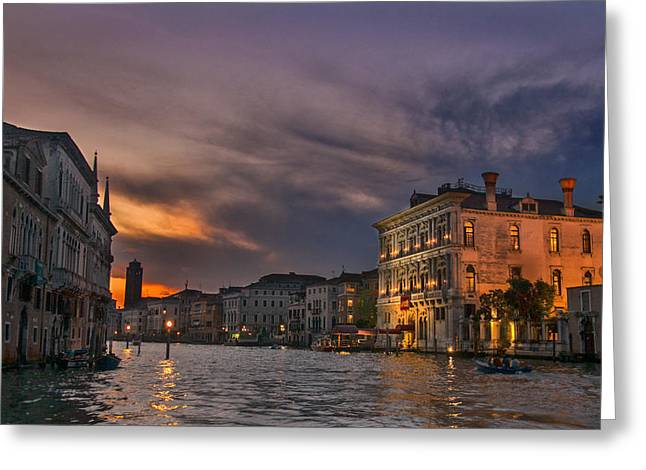 Famous Bridge Greeting Cards - Grand Canal Venice sunset Greeting Card by Sandra Rugina
