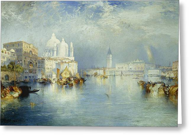 Calm Paintings Greeting Cards - Grand Canal Venice Greeting Card by Thomas Moran