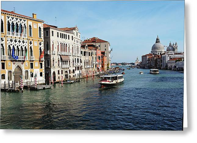 Dorsoduro Greeting Cards - Grand Canal View at the Academy Bridge Greeting Card by George Oze