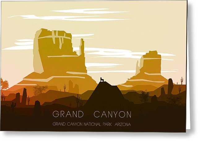 Sunset Prints Greeting Cards - Grand Canyon 1 - by Nostalgic Art Greeting Card by Nostalgic Art