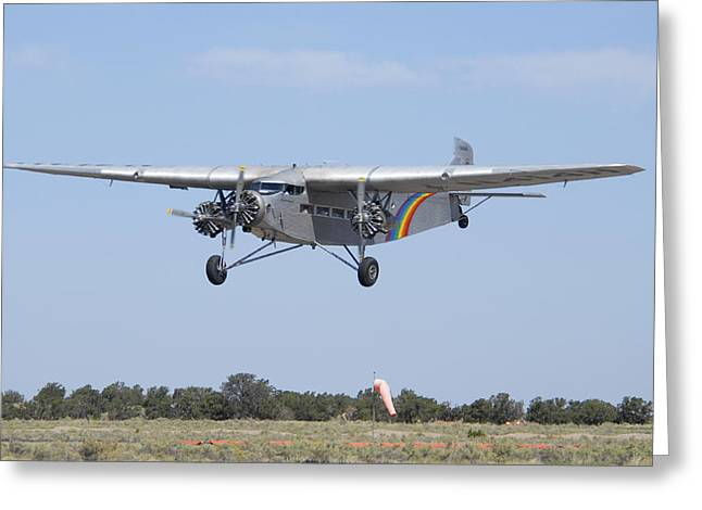 Ford Trimotor Greeting Cards - Grand Canyon Airlines Ford 5-AT-C Trimotor N414H Valle AZ Greeting Card by Brian Lockett