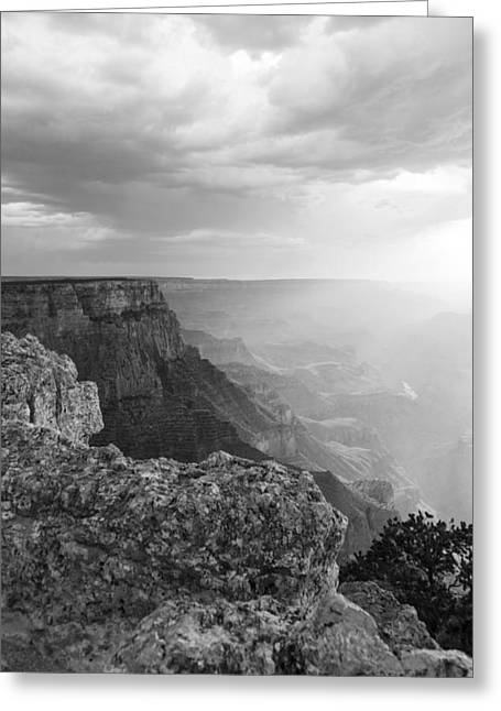 The Grand Canyon Greeting Cards - Grand Canyon Black and White Greeting Card by John McGraw