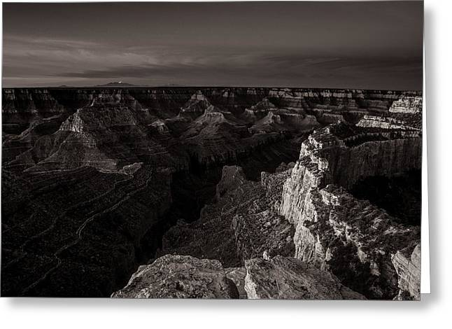 North Rim Greeting Cards - Grand Canyon Monochrome Greeting Card by Scott McGuire