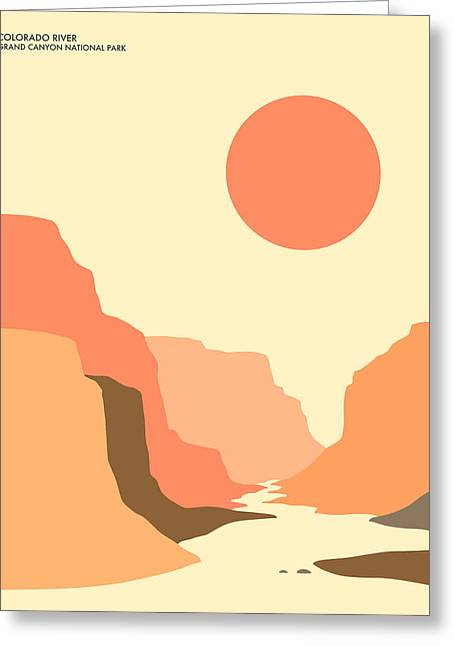 Minimalist Landscape Greeting Cards - Grand Canyon National Park Greeting Card by Jazzberry Blue
