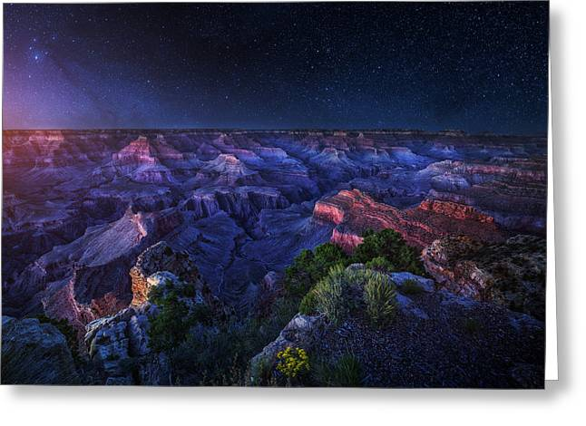 Wallpaper Greeting Cards - Grand Canyon Night Greeting Card by Juan Pablo Demiguel