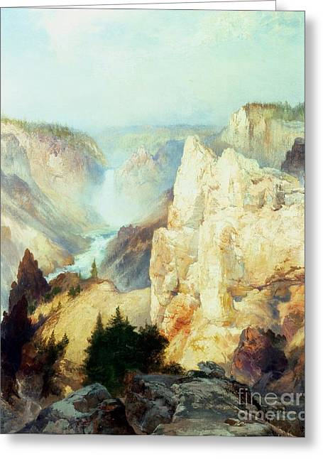 The Great Outdoors Greeting Cards - Grand Canyon of the Yellowstone Park Greeting Card by Thomas Moran