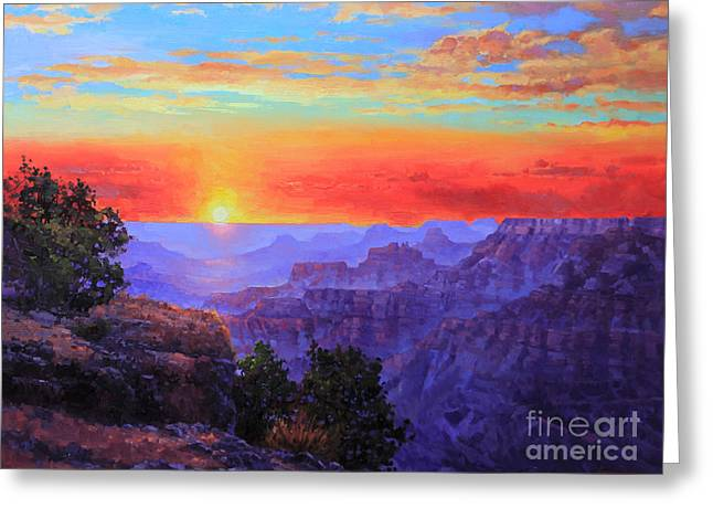 Grand Canyon Sunset Greeting Card by Gary Kim