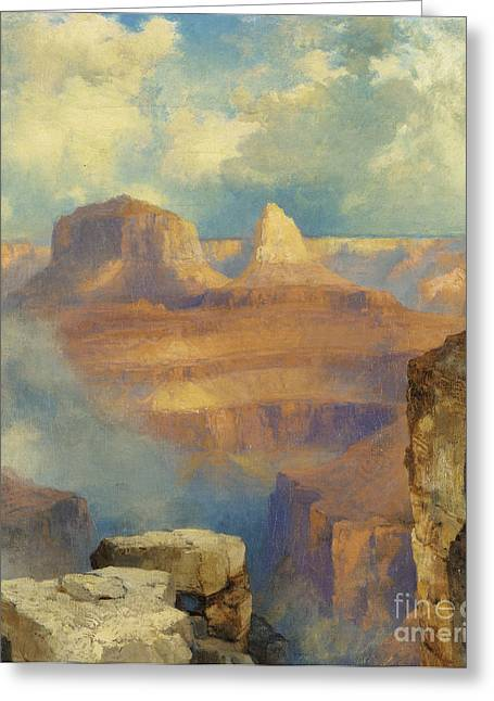 Craters Greeting Cards - Grand Canyon Greeting Card by Thomas Moran
