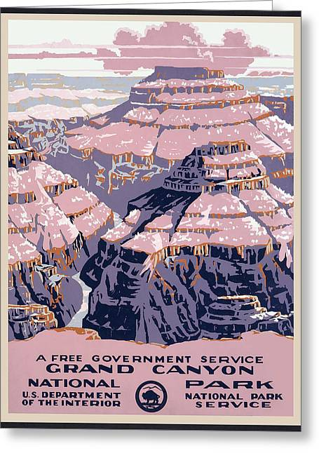 The Grand Canyon Greeting Cards - Grand Canyon Travel Poster - 1938 Greeting Card by Daniel Hagerman
