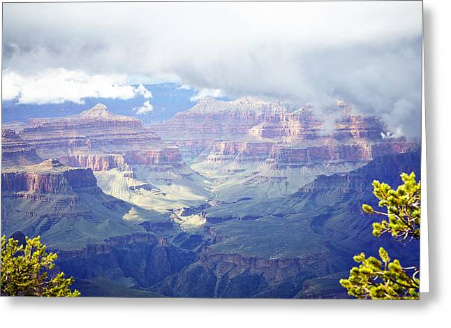 Aerial View Greeting Cards - Grand Canyon With Sunlight And Clouds Greeting Card by Ink and Main