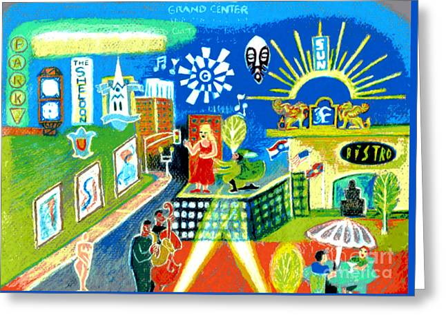 Universities Drawings Greeting Cards - Grand Center St. Louis Greeting Card by Genevieve Esson