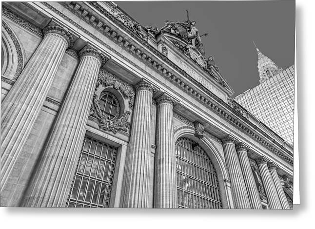 Grand Central Terminal - Chrysler Building Bw Greeting Card by Susan Candelario