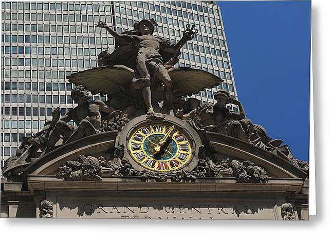 Historic Statue Greeting Cards - Grand Central Terminal Greeting Card by Cyril Furlan