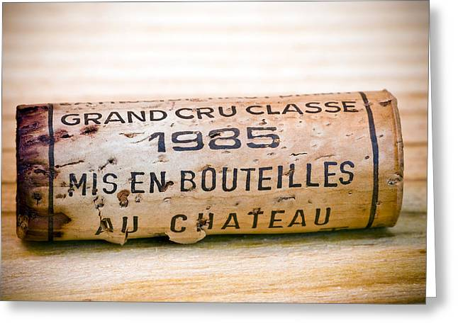 Culinary Photographs Greeting Cards - Grand Cru Classe Bordeaux Wine Cork Greeting Card by Frank Tschakert