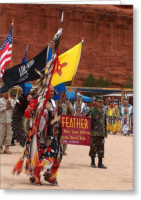 Best Sellers -  - Man Dressed In Black Greeting Cards - Grand Entry at Star Feather Pow-Wow Greeting Card by Tim McCarthy
