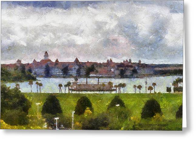 Main Street Mixed Media Greeting Cards - Grand Floridian Resort Disney World Greeting Card by Thomas Woolworth