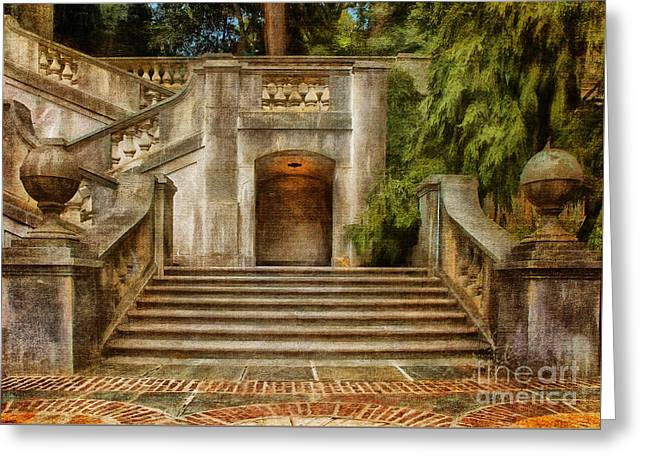 Finial Greeting Cards - Grand Garden Staircase at Winterthur Greeting Card by Lois Bryan