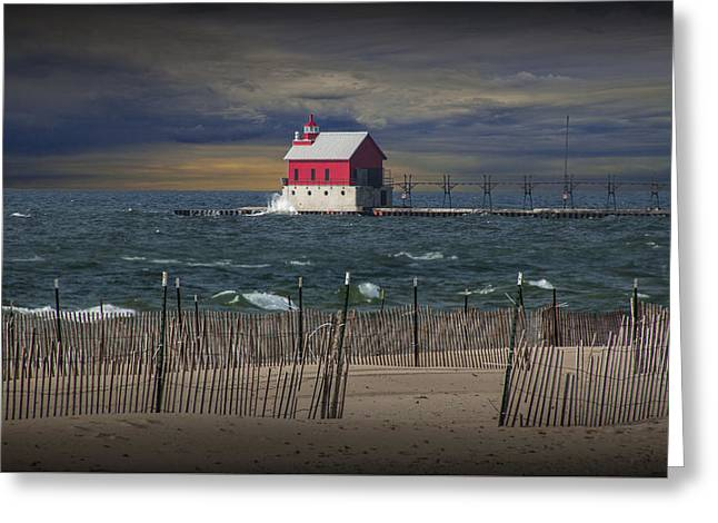 Randy Greeting Cards - Grand Haven Lighthouse at Sunset Greeting Card by Randall Nyhof