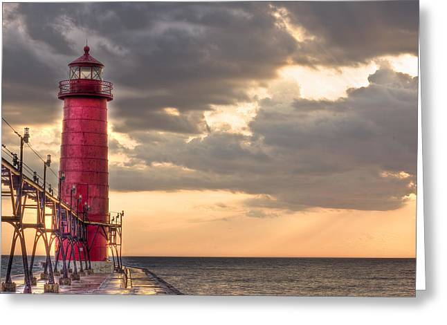 Grand Haven Lighthouse HDR Greeting Card by Jeramie Curtice