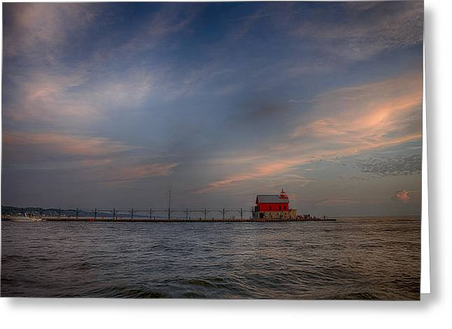 Sunset Prints Greeting Cards - Grand Haven Greeting Card by Michael J Samuels